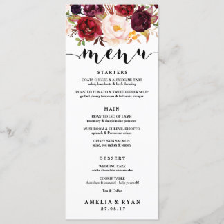 Floral Burgundy Wedding Menu Card