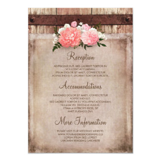 Floral Burlap and Rustic Wood Wedding Information Card