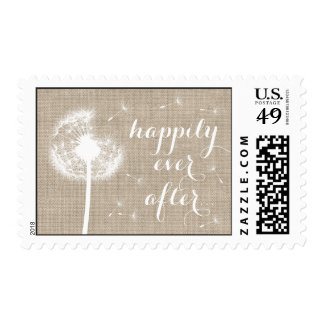 Floral Burlap Thank You Stamp