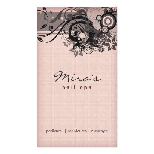 Floral Business Card Linen Black Pink