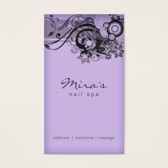 Floral Business Card Linen Black Purple