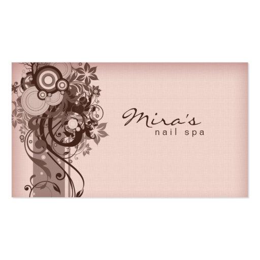 Floral Business Card Linen Brown Pink