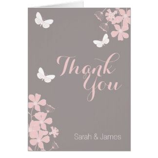 Floral Butterflies Baby Shower Thank You Card