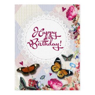 Floral butterflies birthday postcard