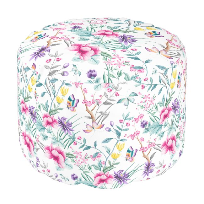 Floral & Butterflies Chinoiserie Round Pouf