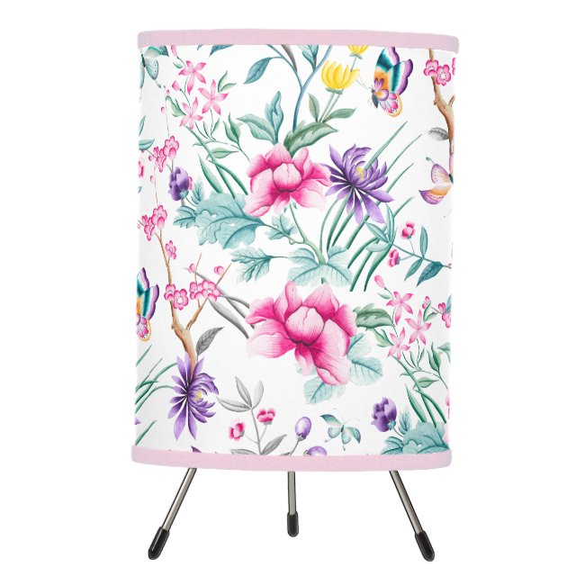 Floral & Butterflies Chinoiserie Tripod Lamp