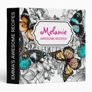 Floral Butterflies colorful sketch pattern Binder