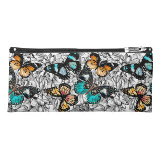 Floral Butterflies colorful sketch pattern Pencil Case