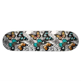Floral Butterflies colorful sketch pattern Skateboard