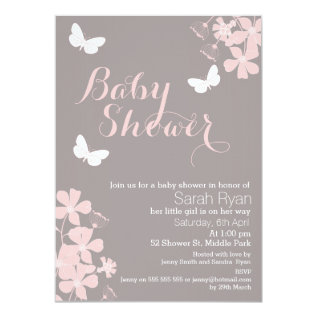 Floral Butterflies Girls Baby Shower Invitation at Zazzle