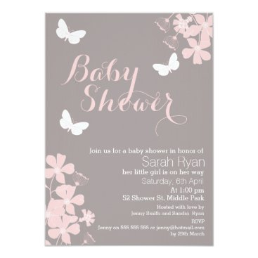 figtreedesign Floral Butterflies Girls Baby Shower Invitation