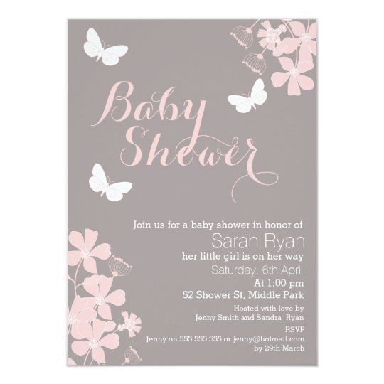 Wonderful Floral Butterflies Girls Baby Shower Invitation