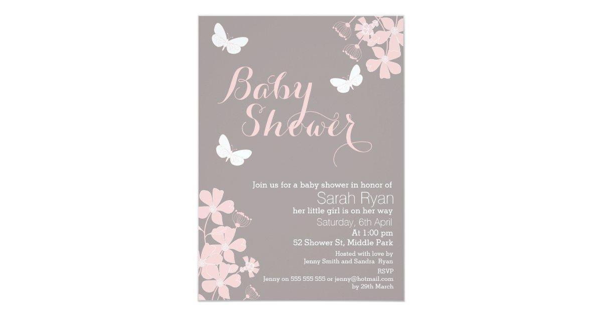 Floral Butterflies Girls Baby Shower Invitation   Zazzle.com