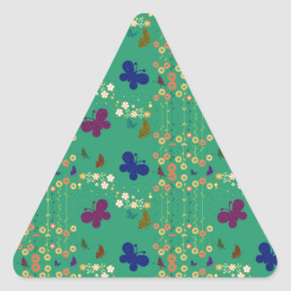 Floral Butterflies Glitter Pattern Triangle Sticker