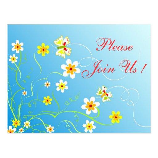 Floral butterflies postcard