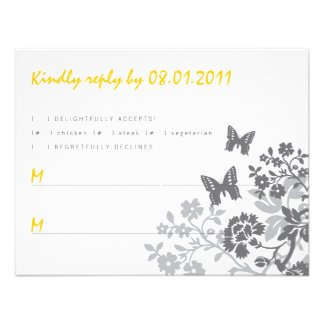 Floral Butterflies Response Card Personalized Invitation