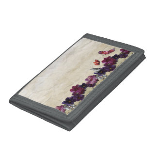 Floral butterflies trifold wallet