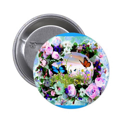 FLORAL BUTTERFLIES WILDFLOWERS ROSES 2 INCH ROUND BUTTON