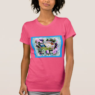 FLORAL BUTTERFLIES WILDFLOWERS ROSES T SHIRT