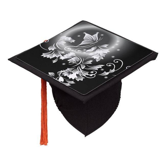 Floral Butterfly Black And White Graduation Cap Topper