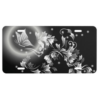 Floral Butterfly Black And White License Plate