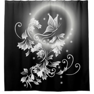 Floral Butterfly Black And White Shower Curtain