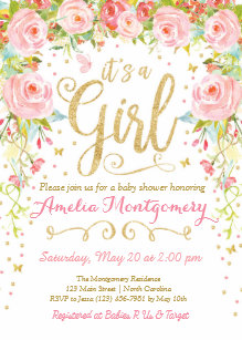 Baby girl shower invitations zazzle floral butterfly girl baby shower invitation filmwisefo