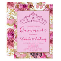 Floral Butterfly Girly Pattern Quinceanera Party Invitation