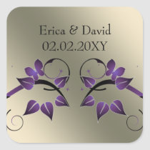 floral butterfly ivory purple envelopes seals