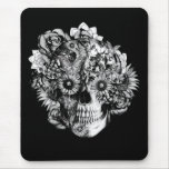Floral Butterfly Ohm skull illustration in black Mouse Pad