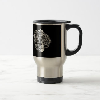 Floral Butterfly Ohm skull illustration in black Stainless Steel Travel Mug