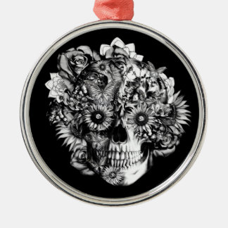 Floral Butterfly Ohm skull illustration in black Round Metal Christmas Ornament