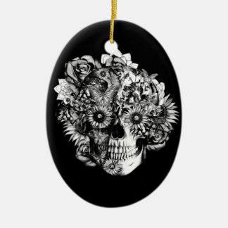 Floral Butterfly Ohm skull illustration in black Double-Sided Oval Ceramic Christmas Ornament