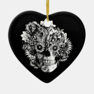 Floral Butterfly Ohm skull illustration in black Double-Sided Heart Ceramic Christmas Ornament