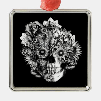 Floral Butterfly Ohm skull illustration in black Square Metal Christmas Ornament