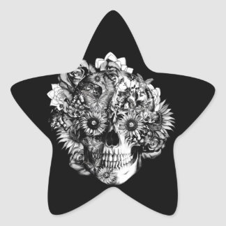 Floral Butterfly Ohm skull illustration in black Star Sticker