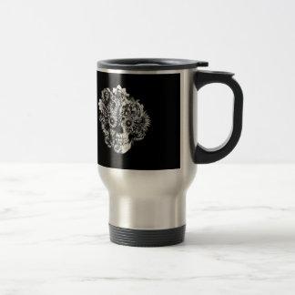 Floral Butterfly Ohm skull illustration in black Travel Mug