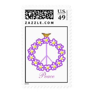 Floral butterfly Peace sign Postage