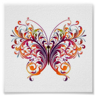 Floral Butterfly Posters
