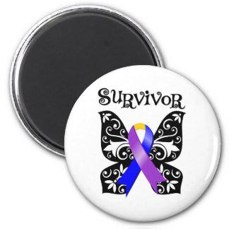 Floral Butterfly Ribbon - Bladder Cancer Survivor 2 Inch Round Magnet