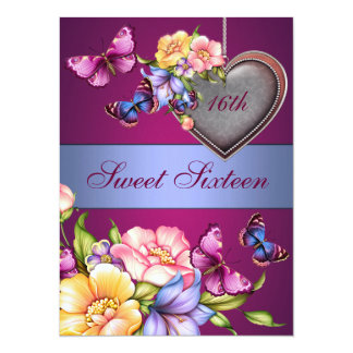 Floral Butterfly Sweet16 Birthday Invite