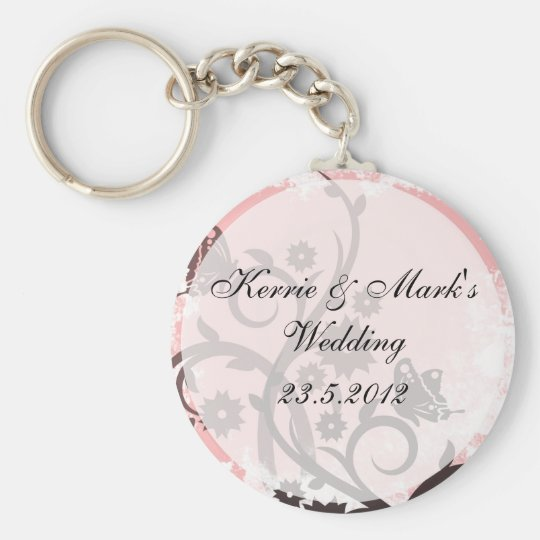 Floral Butterfly Wedding Favors Keychain