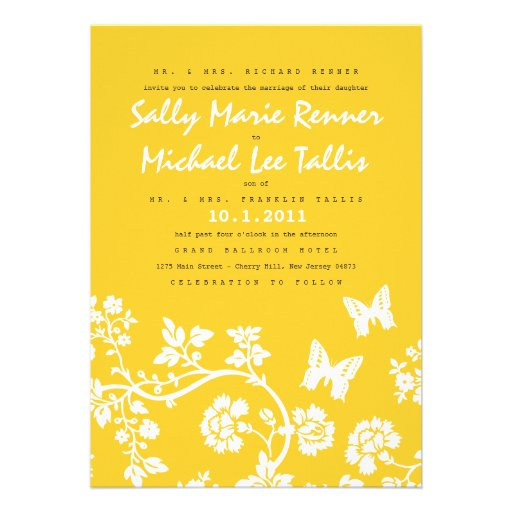 Floral Butterfly Wedding Invitation