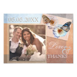 Floral Butterfly Wedding Thank You Photo Card