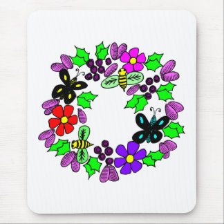 Floral Butterfly Wreath Mousepad