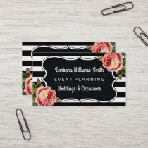 Floral BW Brackets | Stripes Event Planning Business Card