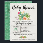 "Floral Cactus Baby Shower Invitation<br><div class=""desc"">This floral and cactus baby shower invitation features two cactus and floral arrangements on a cream color watercolor paper image. I&#39;ve used some simple dot dividers in the design and the back of the invitation is a green and cream watercolor polka dot pattern. This gender neutral or girls floral cactus...</div>"
