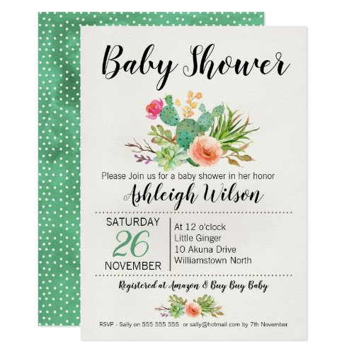 Floral Cactus Baby Shower Invitation