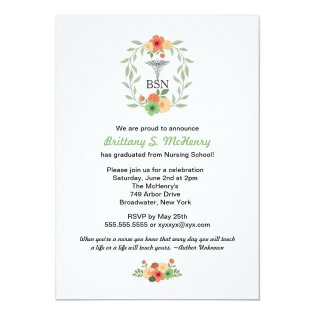 Floral caduceus Nurse pinning graduation BSN RN 5x7 Paper Invitation Card