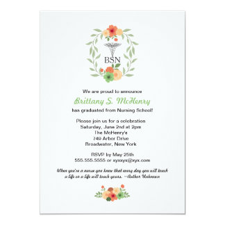 Floral caduceus Nurse pinning graduation BSN RN Card